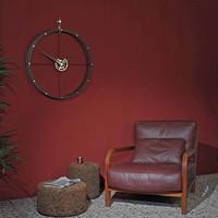 Design wall clock 'Doble O g' Calabo wood / gold diameter 70 cm