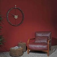Design Wanduhr 'Doble O g' Calabo Holz/ Gold Durchmesser 70 cm