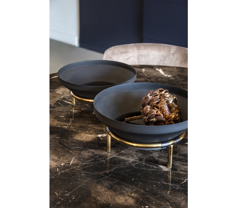 Bowl 'black on golden stand'  S - H12 x D27 cm