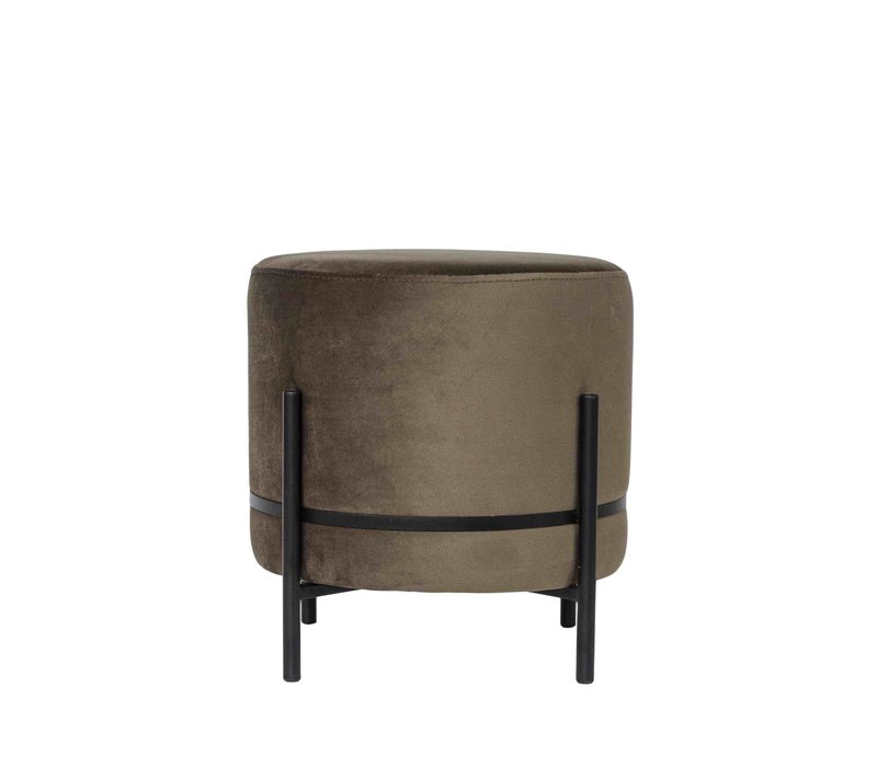 Round footstool 'Baba' Brown with black frame - S