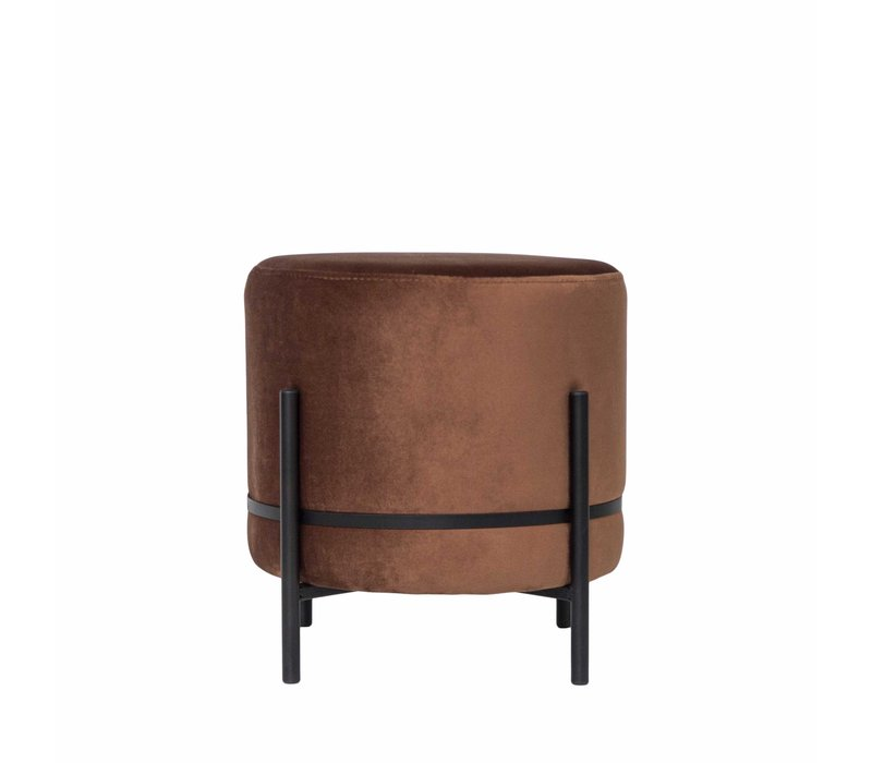 Round footstool 'Baba' Terra with black frame - S