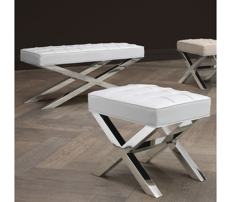 Sitzbank 'Beekman' aus weißem Leder 120 cm