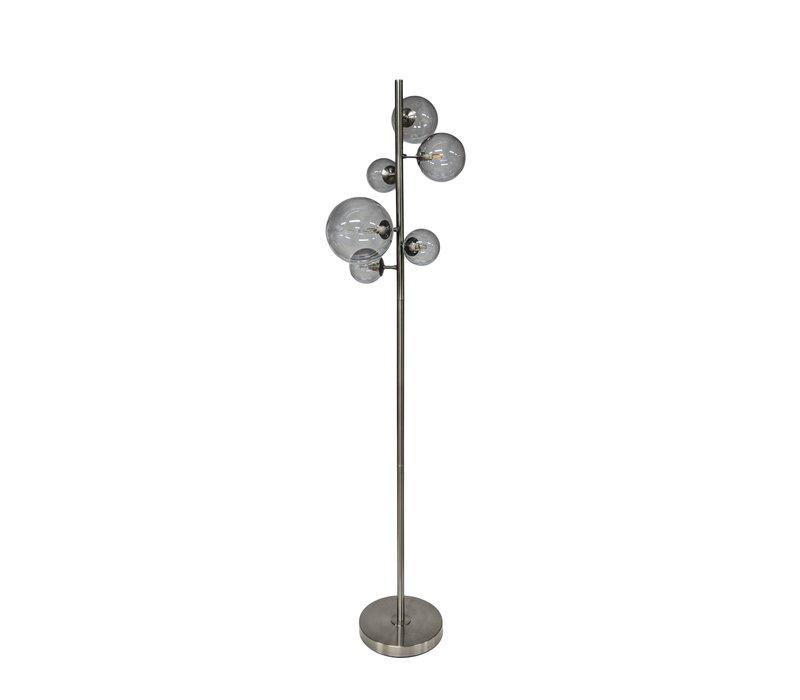 Floor lamp Metal Black & Smoke Glass