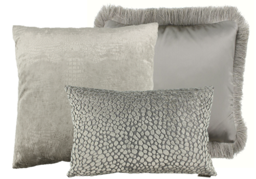 CLAUDI Cushion combination Sand/Taupe: Esta, Speranza & Dafne + fringe