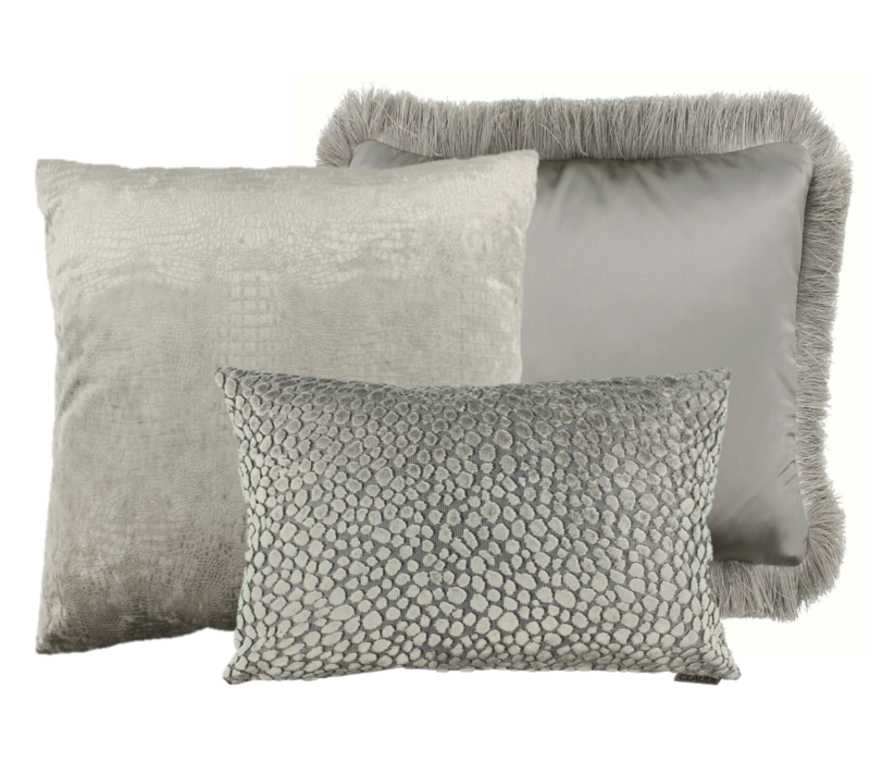 Cushion combination Sand/Taupe: Esta, Speranza & Dafne + fringe