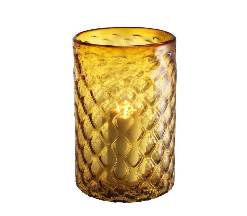 Windlicht 'Aquila' L Glas Gelb H. 44cm