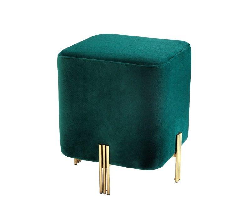 Hocker 'Burnett' Dark Green 40 x 40 x H. 45 cm