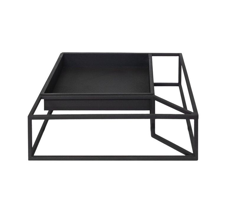 Tray iron in frame 'black' -  L36 x W36 x H10 cm