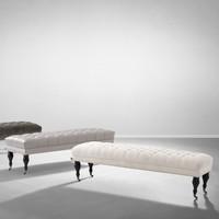 'Benedict' Bench Ecru Velvet 160 cm