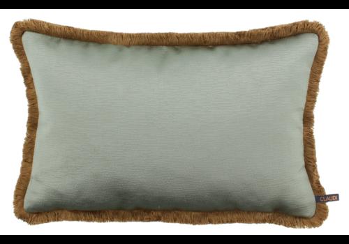 CLAUDI throw pillow Sarina Grey Mint + Fringe