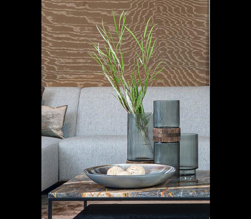Vase with wooden part - H13 x D36 cm