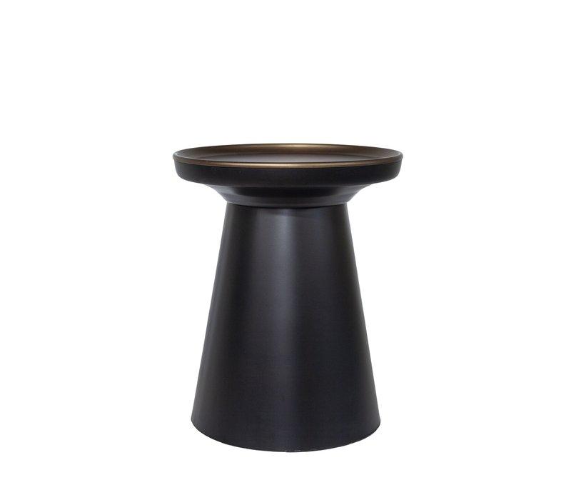 Round Side table matt black/bronze