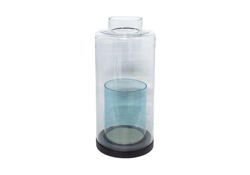 Dome Deco Windlicht 'Turquoise' glas en houten voet - S