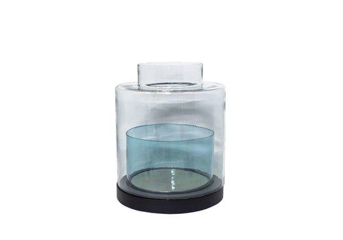 Dome Deco Windlicht 'Türkis' Glas- und Holzsockel - M