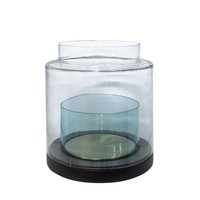 Windlight 'Turquoise' glass and wooden base - L