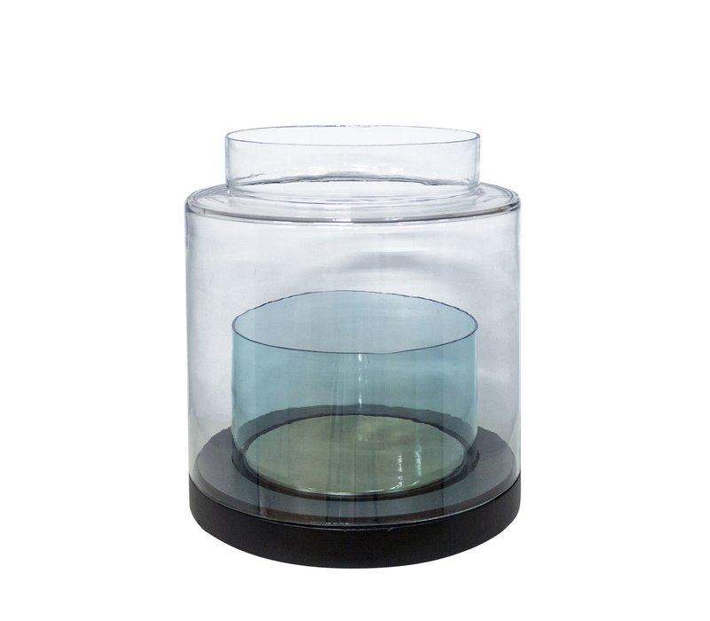 Windlicht 'Türkis' Glas- und Holzsockel - L