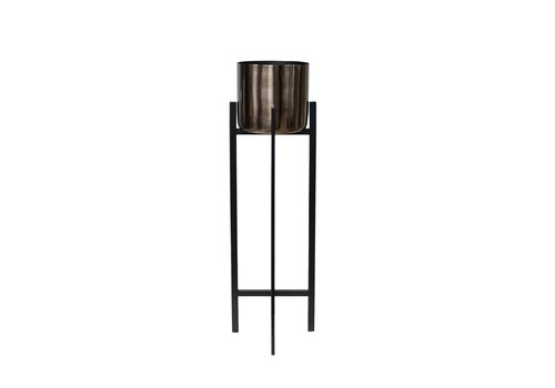 Dome Deco Pflanzgefäß 'Bronze' auf schwarzem Sockel - S