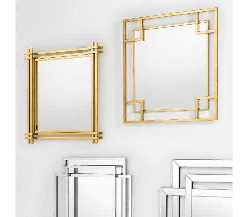 'Morris'  square mirror with gold finish frame 90x 90x D. 5cm