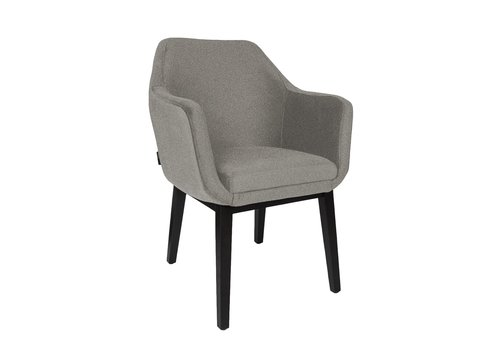 Dome Deco Dining chair black - Volvere BAQUEIRA grey - with arms
