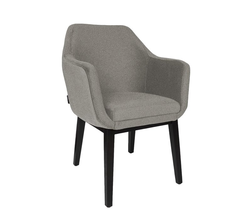 Dining chair black - Volvere BAQUEIRA grey - with arms