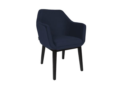 Dome Deco Dining chair black - Volvere Blue - with arms