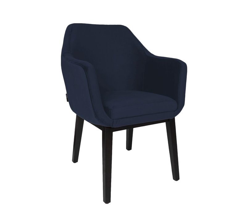 Dining chair black - Volvere Blue - with arms