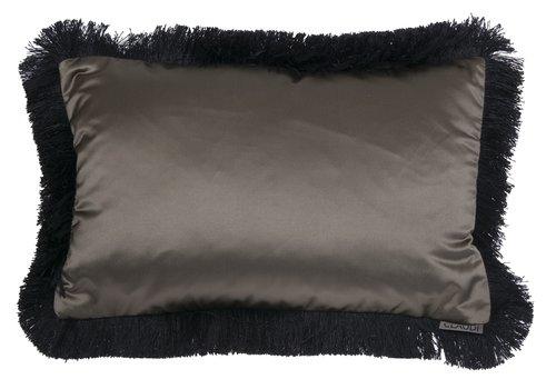 CLAUDI throw pillow Dafne Olive Fringe Black