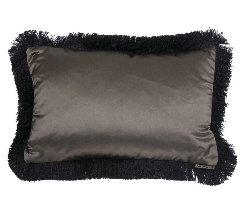 Throw pillow Dafne Olive Fringe Black