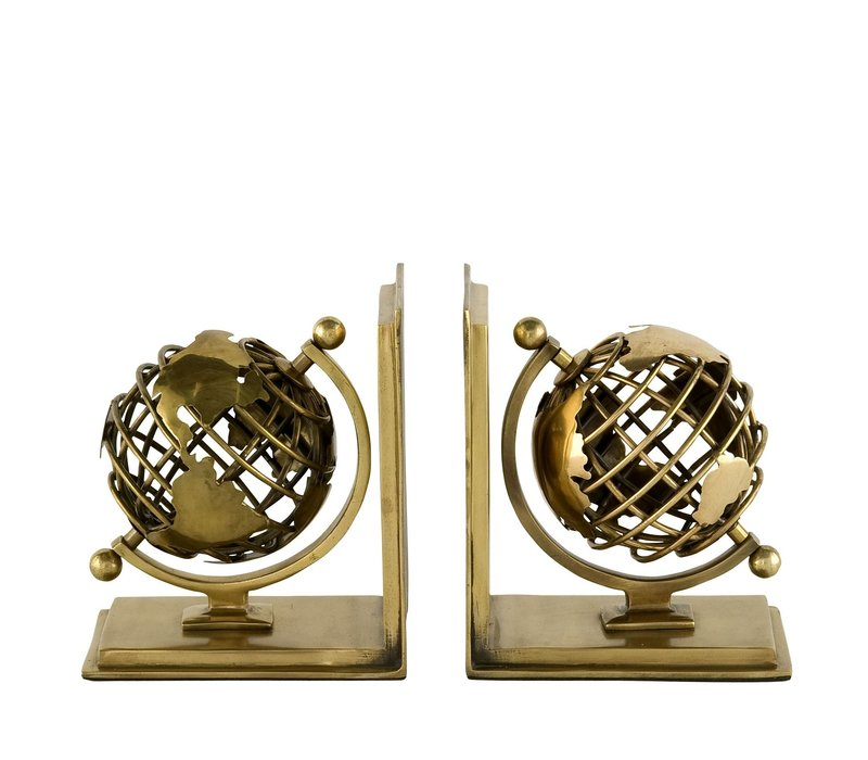 Boekensteunen  'Globe' Set van 2 Antique Brass