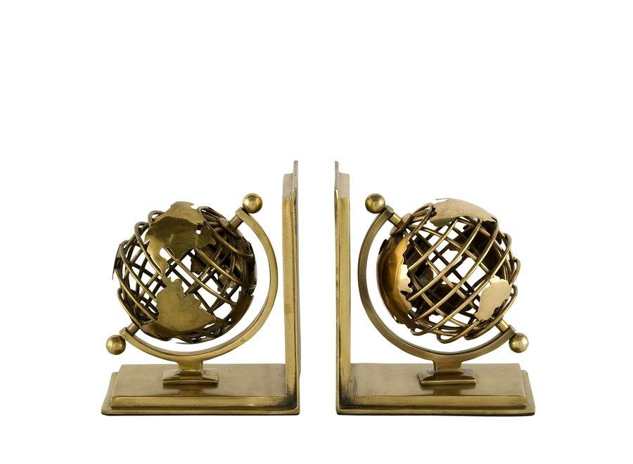 Boekensteunen  'Globe' Set van 2 Antique Brass
