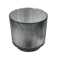 Glazen theelicht 'Lines' Grey