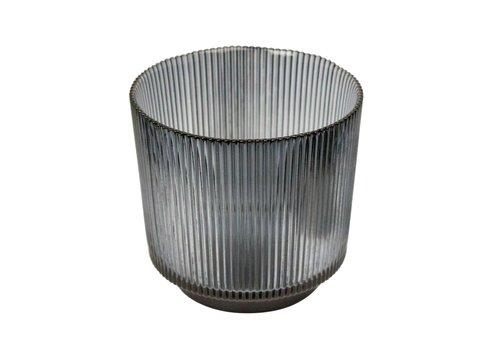 Dome Deco Kerzenhalter Glass  'Lines' Grey