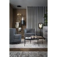 Glazen theelicht 'Lines' Grey - M