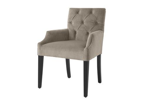EICHHOLTZ Dining Chair 'Atena' Greige Velvet with armrest