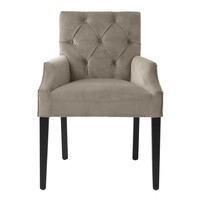 Dining Chair 'Atena' Savona Greige Velvet with armrest