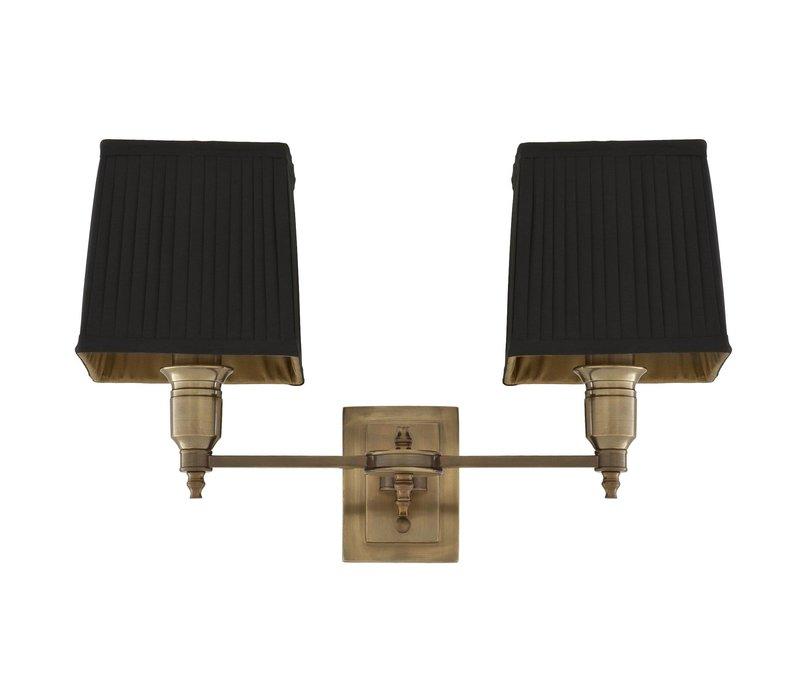 'Lexington' Double Wall Lamp Black / Brass