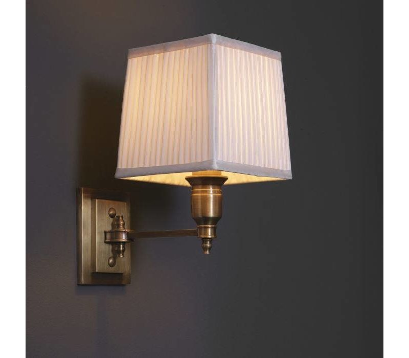 'Lexington'Wall Lamp Single White / Brass