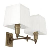 Wandlamp 'Lexington' Double White/Brass