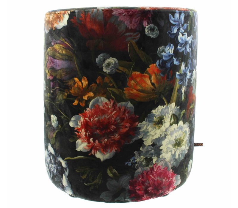 Pouf Bibi Flowers Black