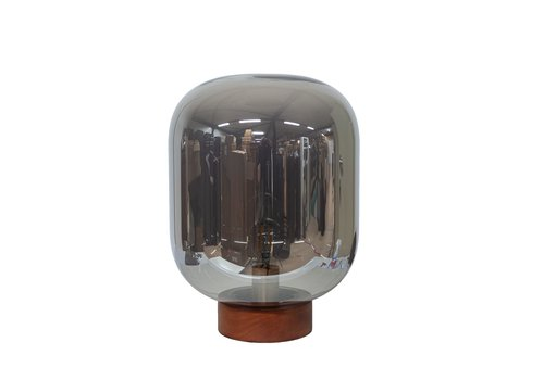 Dome Deco Tafellamp 'Glass with wooden base'