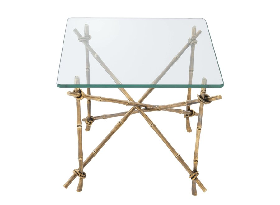 Design Bijzettafel 'Kahala' met glazen tafelblad