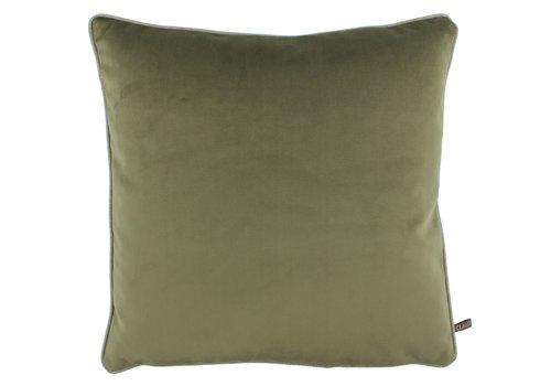 CLAUDI Cushion Astrid Olive + piping Sand