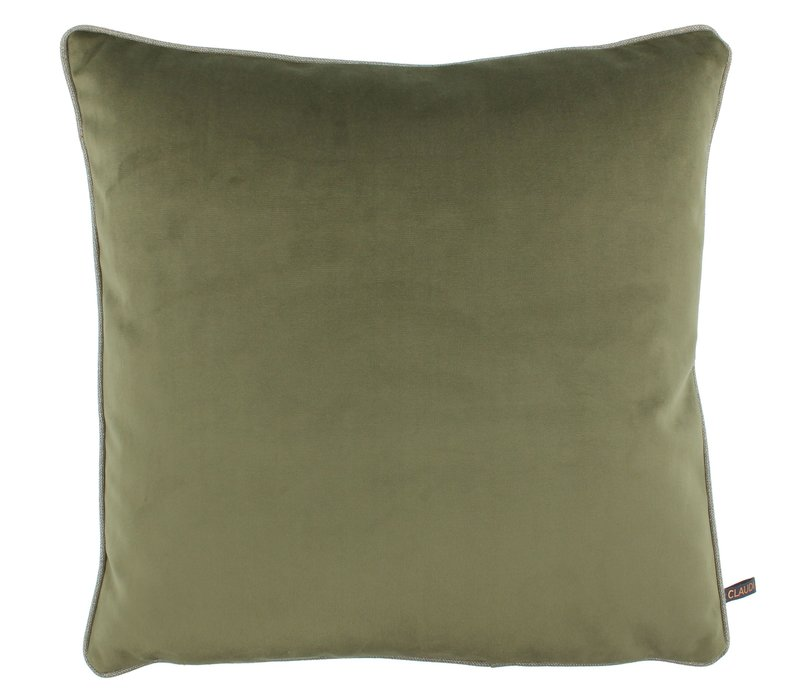 Cushion Astrid Olive with piping