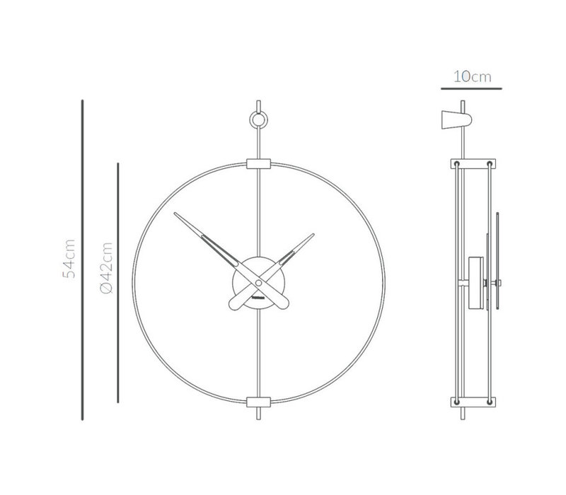 Design Wanduhr 'Micro Barcelona' T Graphit | Durchmesser = 42 cm