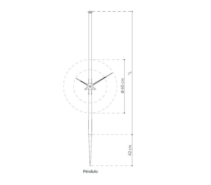 RVS klok 'Pendulo' in lengte verstelbaar