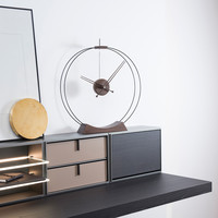 Desktop clock 'Aire' in stained ash wood, diameter 50cm