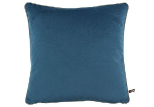 CLAUDI Kissen Rosana Vintage Blue + piping Sand