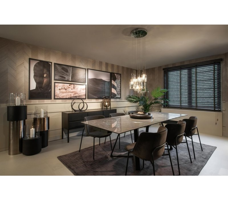 Eettafel 'Extendable Etoile Gris' met keramiek tafelblad