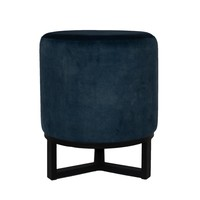 Round footstool 'Flynn' Blue with black metal  frame