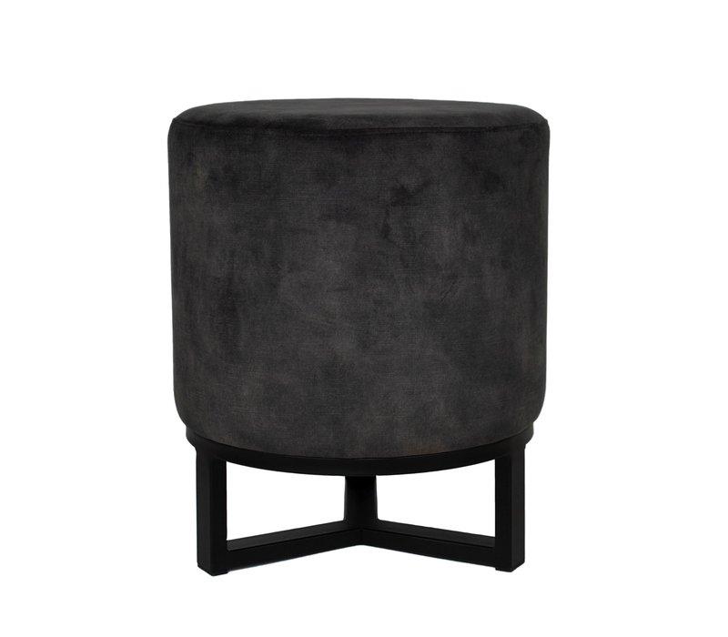 Round footstool 'Flynn' Dark Grey with black metal  frame